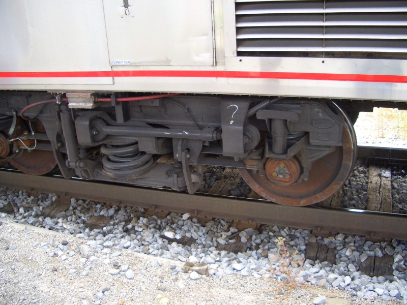Question mark on train wheel