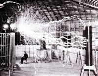 Nikola Tesla testing Tesla coil indoors