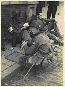 The real Doc Roe, Liebgott and Christenson at Eindhoven, September 1944